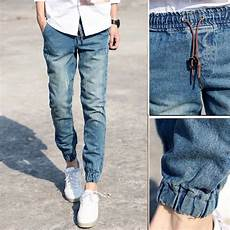 serré en bas 2019 wholesale classic mens joggers light blue biker denim