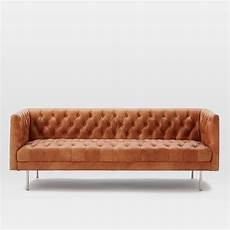 modern chesterfield leather sofa 79 quot west elm