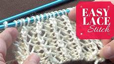 Einfaches Lochmuster Stricken - easy lace stitch one row repeat