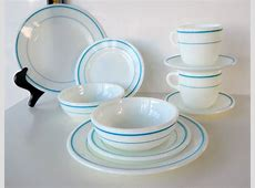 Vintage Pyrex Turquoise Blue Bands Dinnerware Set
