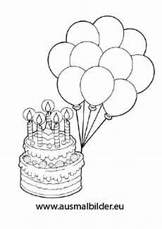 ausmalbilder torte mit luftballons geburtstag malvorlagen