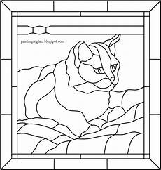 stained glass tabby cat pattern painting on glass