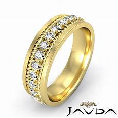 classic round diamond mens eternity wedding band 14k yellow gold 8 5mm ring 1ct ebay