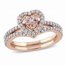 5 0mm heart shaped morganite and 1 2 ct t w diamond frame bridal set in 10k rose gold