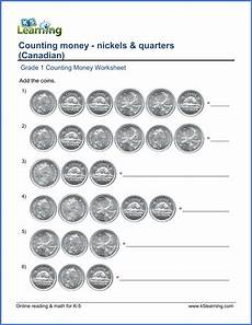 canadian money math worksheets grade 1 2483 grade 1 counting money worksheets nickels and quarters canadian k5 learning