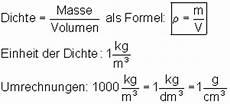 masse und dichte in der physik mathe brinkmann