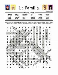 la familia extended family spanish family word search worksheet