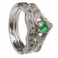 14k white gold emerald heart claddagh ring wedding