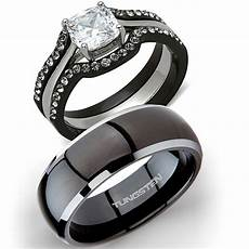 his tungsten hers 4 pc black stainless steel wedding engagement ring band ebay