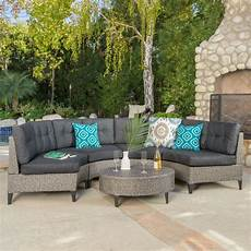 currituck outdoor 5 piece mixed black wicker sofa with dark grey water resis ebay