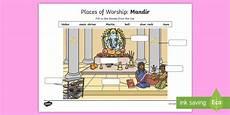 r8657 places of worship mandir worksheet worksheet cfe religious