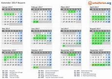 Kalender 2017 Ferien Bayern Feiertage