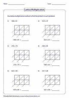 lattice method of multiplication worksheets lattice multiplication worksheets and grids