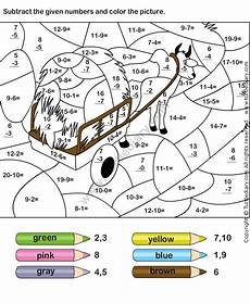 free subtraction color by number worksheets 16323 color subtraction worksheet2 math for math coloring math worksheets