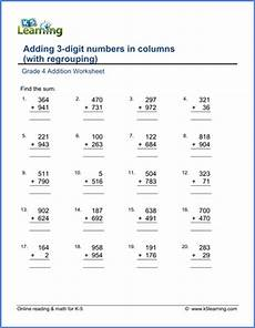 4 digit addition worksheets for grade 4 9165 grade 4 math worksheet addition adding 3 digit numbers k5 learning