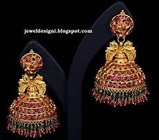 jewellery designs designer jhumkas buttalu traditional earrings in ruby emerald