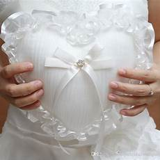 2019 heart shaped wedding ring pillows 2019 new arrival beige satin ring bearer pillows for