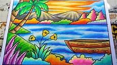 Cara Menggambar Dan Mewarnai Gradasi Pemandangan Alam