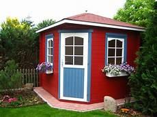 das 5 eck gartenhaus tricolore in rot blau und wei 223