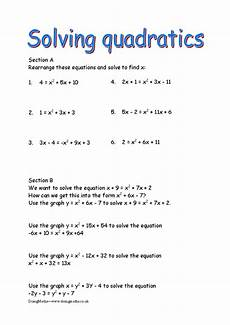 quadratic equations free worksheets powerpoints and other resources for gcse doingmaths