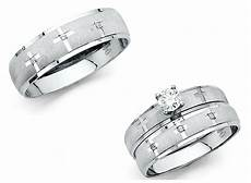 14k solid white gold cross wedding band bridal solitaire
