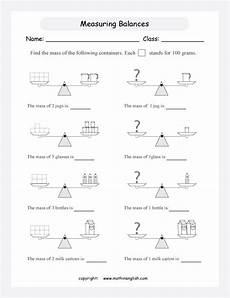 measuring balances mass printable grade 2 math worksheet