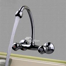 2 handle kitchen faucet wall silver chrome brass gooseneck