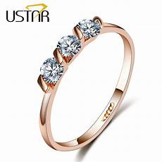aliexpress com buy ustar crystals engagement rings for with aaa cubic zirconia rose gold