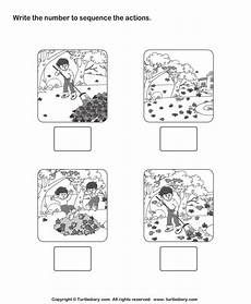 picture sequencing garden cleaning worksheet turtle diary