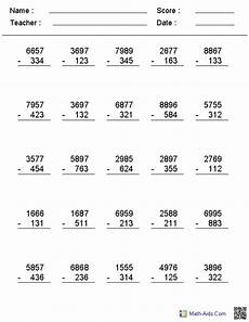 4th grade math subtraction regrouping worksheet 2 3 or 4 digit no regrouping vertical format subtraction