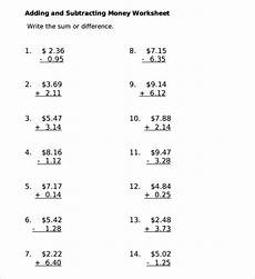 addition and subtraction of money worksheets for grade 3 10558 free 5 sle subtracting money worksheet templates in pdf