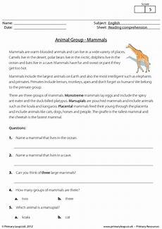 animal reading comprehension worksheets 14286 mammals reading comprehension