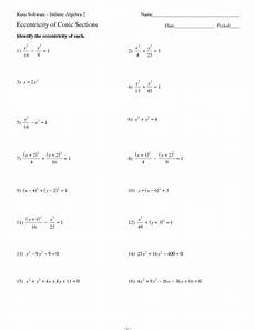 eccentricity of conic sections worksheet for 11th grade lesson planet