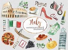 italia clipart watercolor italy travel clipart set graphics creative