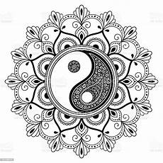 vector henna tatoo mandala yinyang decorative symbol