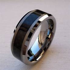 8mm tungsten carbide black carbon fiber men s com fit wedding band ring sz 5 15 ebay