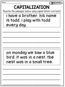 capitalization worksheets rewrite the passage elementary education 1st grade worksheets 2nd