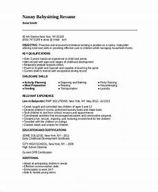 nanny resume template 5 free word pdf document