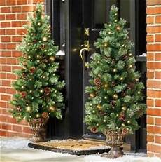 Lit Outdoor Decorations by 4 Lighted Pre Lit Cordless Porch Tree Topiary