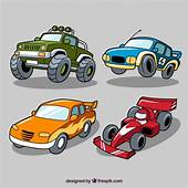 Selection Of Four Race Cars Vector  Free Download