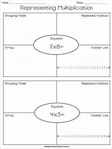 multiplication strategy worksheets grade 3 4815 representing multiplication freebie repeated addition number lines grouping models and