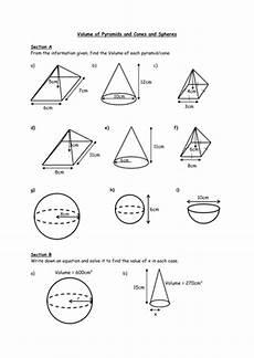 volume of sphere cones by ryan80 teaching resources tes