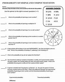 probability worksheets easy 5756 probability simple and compound events self checking by the math factory