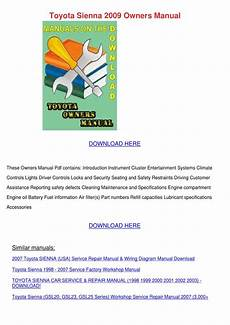 small engine service manuals 2002 toyota sienna security system toyota sienna 2009 owners manual by tinastack issuu