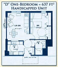 handicapped accessible house plans unit d is for handicapped seniors has one bedroom with 637