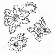 Henna Flower And Butterfly Template Mehndi Style