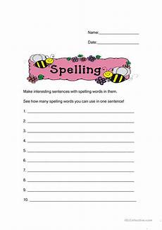 spelling worksheets 22418 make sentences from your spelling words worksheet free esl printable worksheets made by teachers