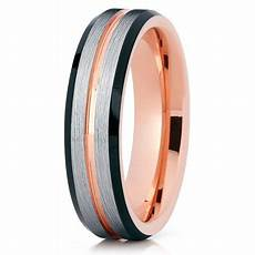 silly kings tungsten wedding band brushed silver tungsten ring 18k rose gold groove inlay