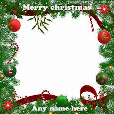 beautiful merry christmas card with lighting decorated frame