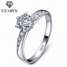 aliexpress com buy classic simple design white gold color engagement rings for women cz stone